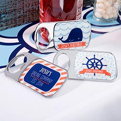 Personalized Bottle Opener with Epoxy Dome - Kates Nautical Birthday Collection