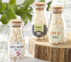 Personalized Milk Jar - Kates Woodland Birthday Theme Collection (Set of 12)