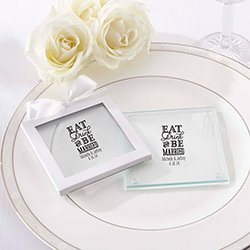 Personalized Glass Coaster - Eat, Drink & Be Married (Set of 12)