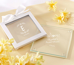 Personalized Glass Coasters - Kates Rustic Bridal Shower Collection (Set of 12)