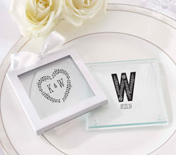 Personalized Glass Coasters- Kates Rustic Wedding Collection (Set of 12)