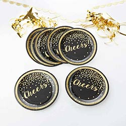 Party Time Gold Foil Cheers Paper Plates