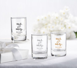 Personalized Shot Glass/Votive Holder - Mr. & Mrs.