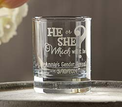 "Personalized ""Gender Reveal"" Printed Shot Glass/Votive Holder"