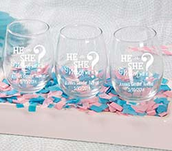 """Gender Reveal"" Personalized Pad-Printed Stemless Wine Glass"