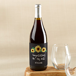 Personalized Wine Bottle Labels - Sunflower